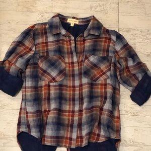 CLOTH & STONE (Anthro) Plaid button down shirt